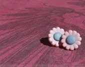 Button Stud Earrings : Light Pink and Blue Flower Shaped Earriongs  - Surgical Steel