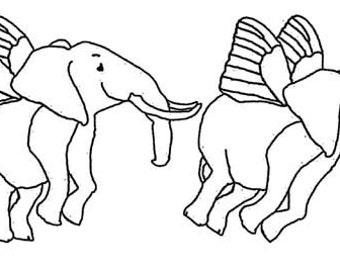 Flying Elephants.  unmounted Rubber Stamp