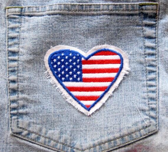 U.S. FLAG HEART Raggy Patch