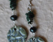 Zen earrings featuring Summers Studio Charms, Pearls, and Fibers - RESERVED for Tamera