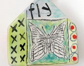 Ceramic Butterfly Dove house wall sculpture
