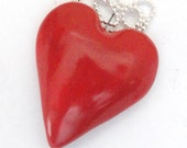 Valentine Red Heart Pendant Focal Bead Necklace