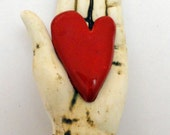 Ceramic Sculpture for the wall Heart in Hand