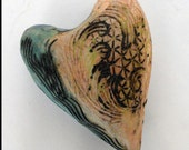 Ceramic Wall Sculpture Textured  Heart Pillow Valentine