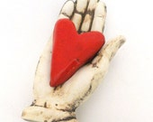 Love Heart in Hand Ceramic Wall Sculpture