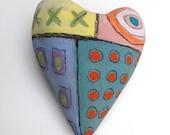 Love Folkart Ceramic Heart Wall Sculpture Pillow -  Abstract graffiti