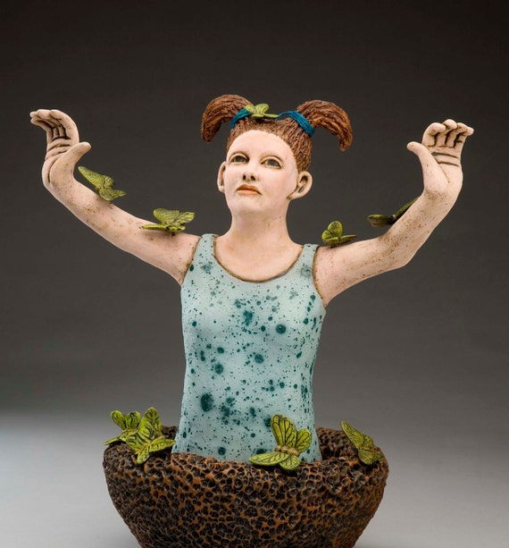 Ceramic Sculpture Butterfly Collector