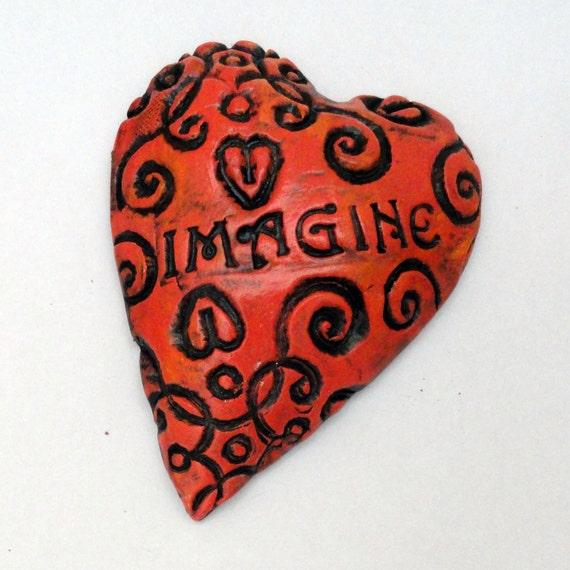 Warm Red Orange Ceramic Heart Wall sculpture Imagine Affirmation