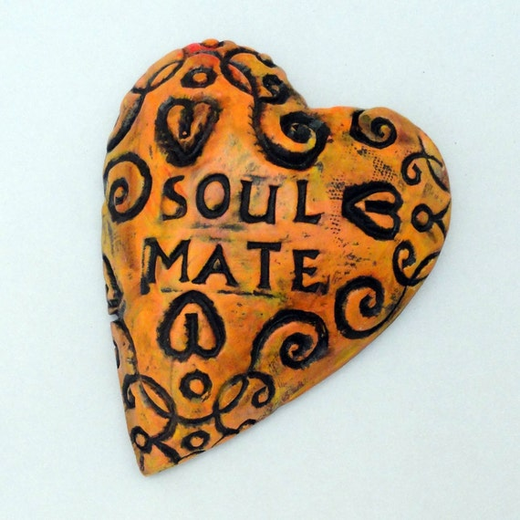 Valentine Ceramic heart Wall Sculpture SOUL MATE Affirmation Heart