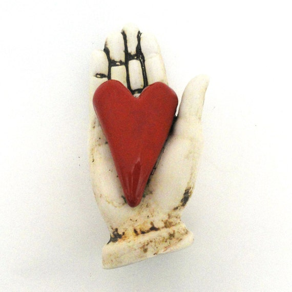 Love Ceramic Sculpture for the wall Heart in Hand