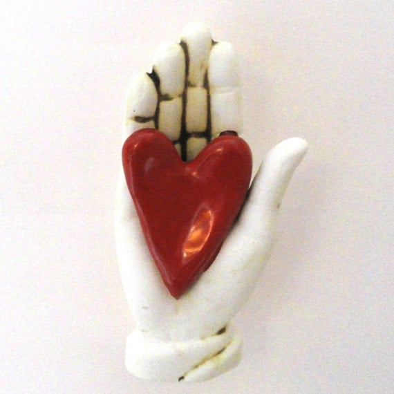 Ceramic Wall Sculpture My Heart in you Hand
