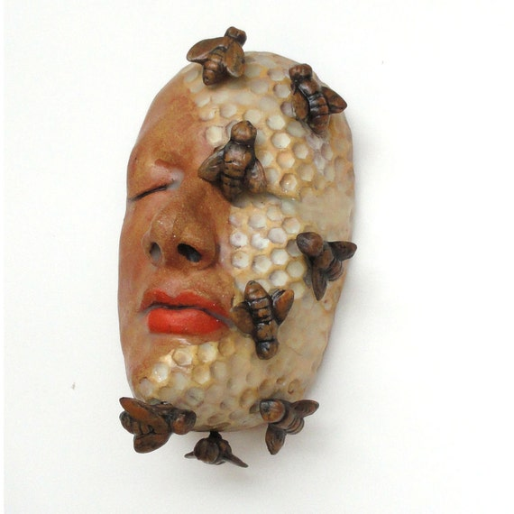 Ceramic Sculpture Mask The Beekeeper  MADE TO ORDER