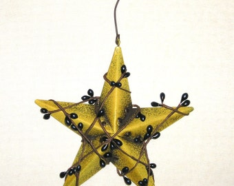 Country Primitive 5 Inch Riveted Mustard Metal Star with Navy Blue Pip Berries