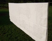 Vintage Damask Tablecloth White Wedding Decor Pottery Barn Style Farmhouse French Country Chic Shabby Sewing Supplies