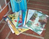 Vintage Christmas Cards Religious Santa Children Unused 1960 Mid Century Modern Paper Ephermera Supplies Altered ArtAmerican Legion Cards