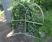 RESERVED for Susan Architectural Salvage Wrought Iron Gate Fragment French Country Farmhouse Cathedral Window Chippy Paint