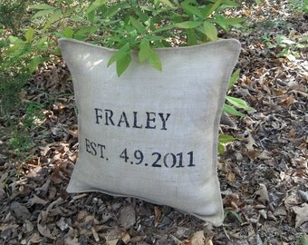 Personalized Burlap Pillow Anniversary Pillow Customized Decorative Pillow Wedding Decor Monogrammed Throw Pillow French Country Prairie