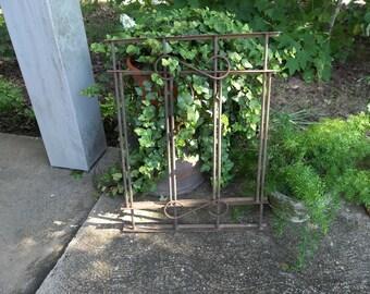 Wrought Iron Gate Fragment Architectural Salvage French Country Farmhouse Iron Burglar Bars Garden Decor
