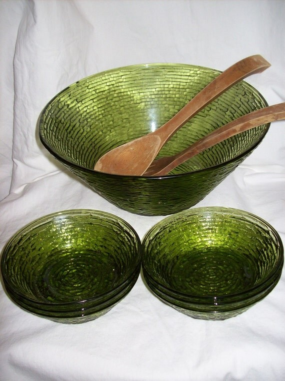 Vintage Green Glass Salad Bowl Set Avocado Soreno By