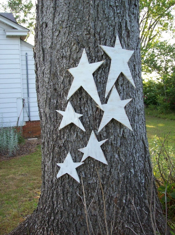 READY to SHIP Primitive Stars Farmhouse Christmas Decor Cottage Chic Memorial Day July 4 Patriotic Decor Set of 5 Wooden Stars