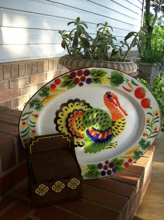 Decorating Ideas > Thanksgiving Decor Vintage Tin Enamel Tray Turkey By  ~ 080207_Thanksgiving Vintage Decorations