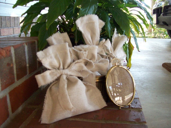 READY to SHIP Rustic Gift Bags Wedding Favor Bags Fabric French Country Farmhouse  Christmas Gifts Ribbon Ties Made to Order Set of 5