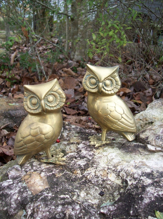 Vintage Brass Owl Figurines Farmhouse Rustic Cabin Hunting Lodge French Country Chi Omega Desk Accessory Paperweight Bookends