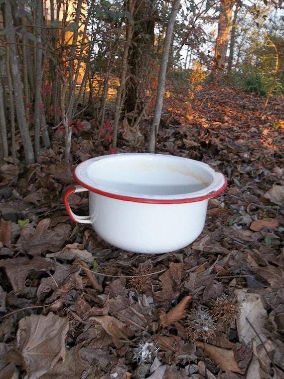 Vintage Enamel Bowl Enamelware Pan Primitive Garden Decor