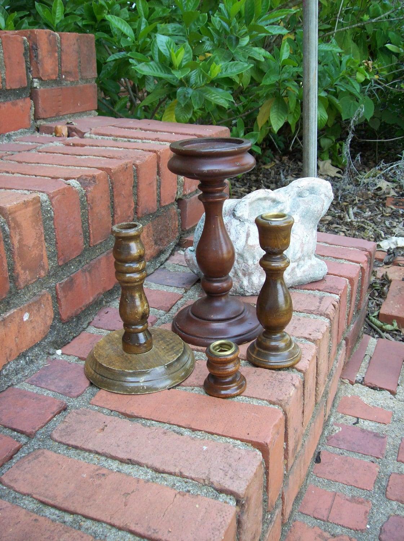 Vintage rustic wood candle holders prairie farmhouse for Rustic wood candle holders