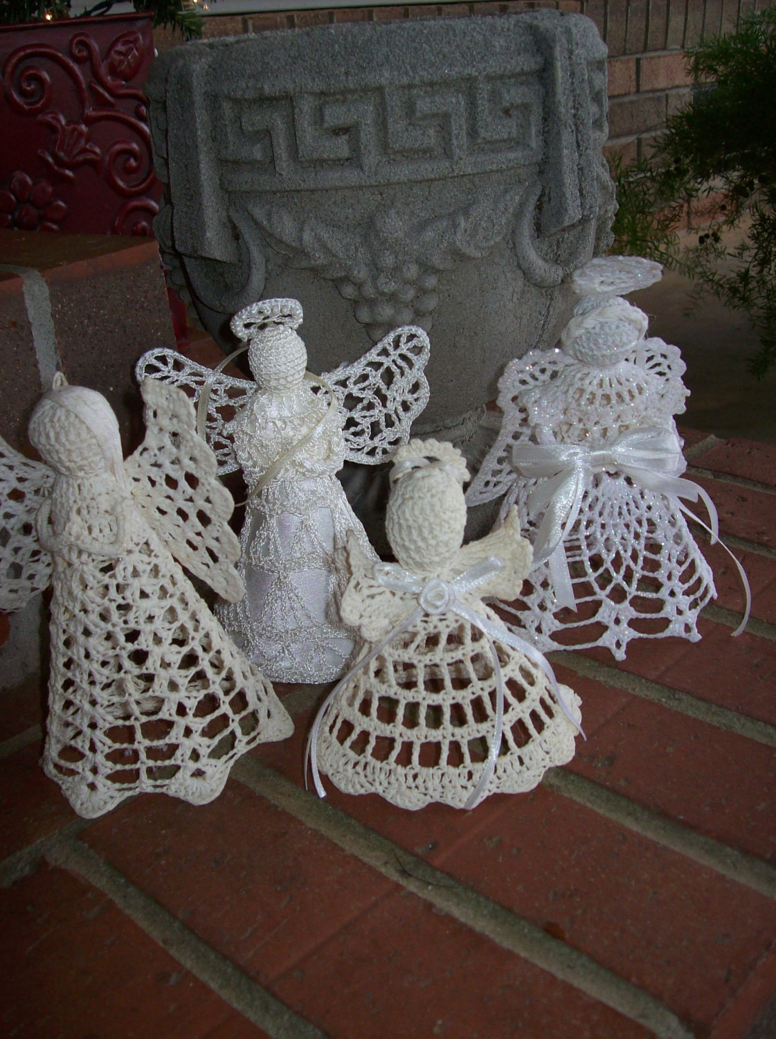 Vintage christmas decoration ornament crochet angels rustic for Angel decoration
