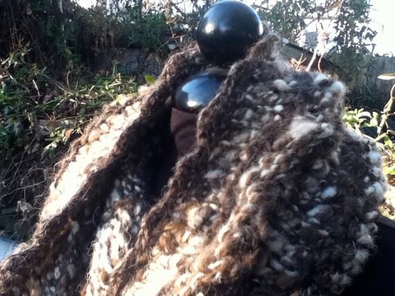 The Lunamuse Cowl in shades of brown & cream - soft handknit oversized cowl handspun