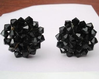 German Black Glass Bead 1940s Earrings