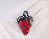 Vintage Strawberry Brooch, Red & Green Rhinestones - Signed Pell
