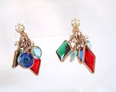 Vintage Stain Glassed Motif Dangle Earrings