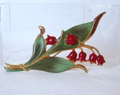 Vintage Sterling Enamel Red Lily Of The Valley Flower Brooch