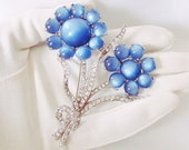 Art Deco Flower Brooch Blue Moonglow Rhinestone, Bridal