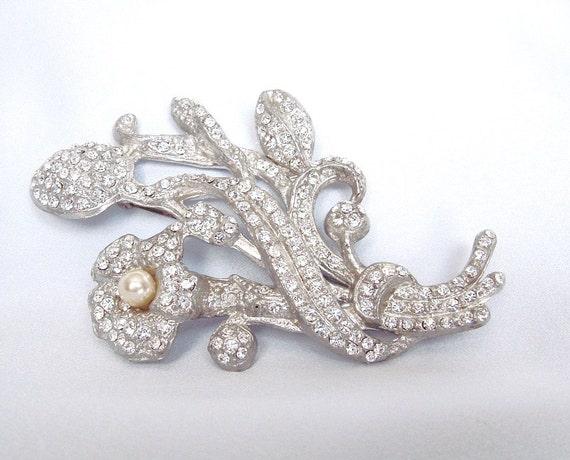 Huge Art Deco Brooch Floral Rhinestone Pave Pearl - Wedding - Bridal - Prom