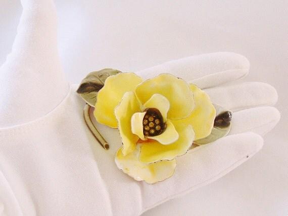 Vintage Flower Brooch, Yellow Enamel Rose