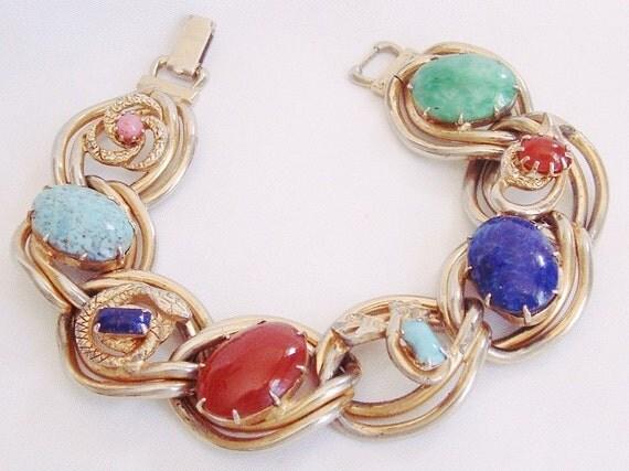 Reserved  -Celtic Bracelet Serpent Agates  - Polished Stones - Celtic Knots