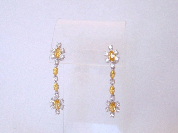 Vintage Sterling Canary Yellow CZ Dangle Post Earrings