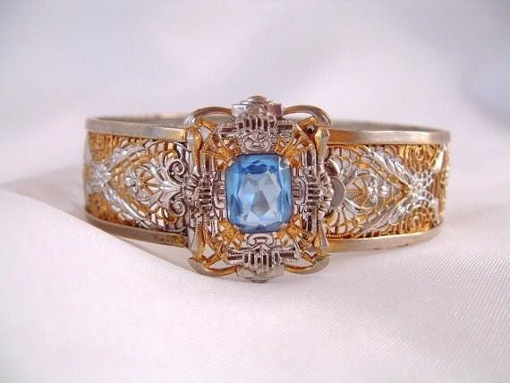 Art Deco Blue Rhinestone Silver Filigree Bangle Bracelet - J.J. White