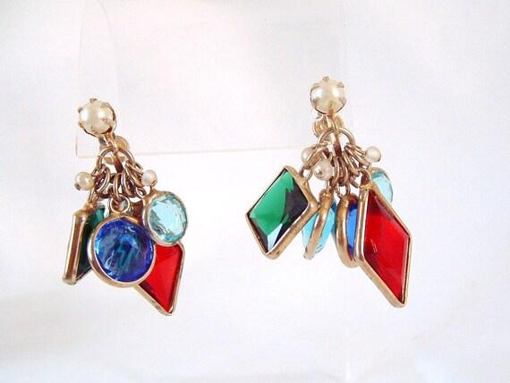 Vintage Stain Glassed Motif Dangle Earrings