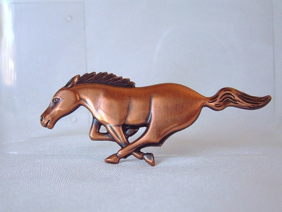 Vintage Copper Running Horse Brooch / Pin