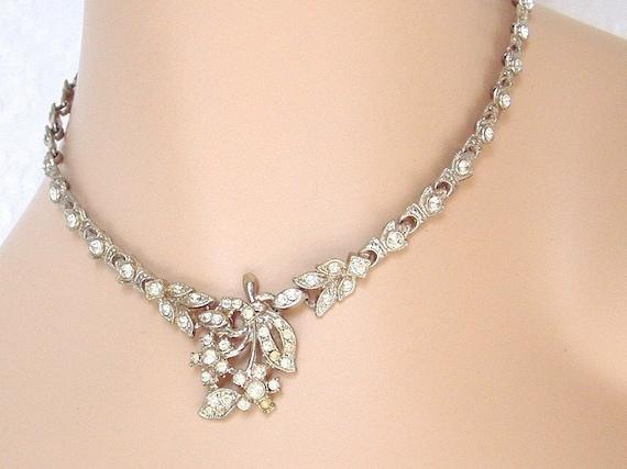 Art Deco Rhinestone Floral Necklace - Bridal - Wedding - Formal