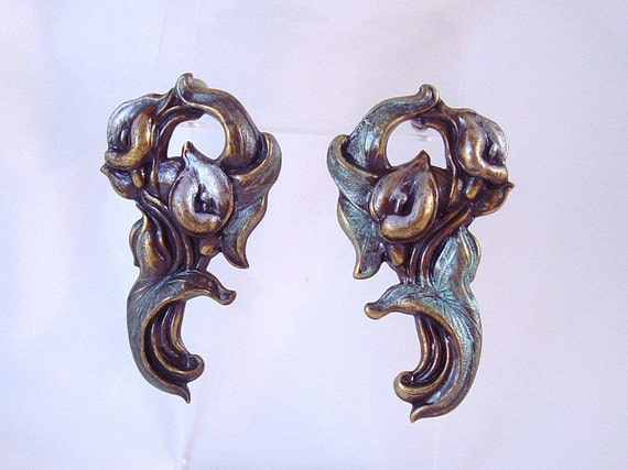 Vintage Nouveau Style Brass Calla Lilly Earrings - posts
