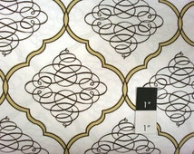 Dena Designs DF52 Leanika Scroll Ivory Cotton Fabric 1 Yard