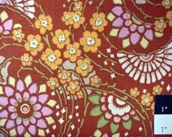 CLEARANCE Amy Butler AB16 Lotus Geisha Fans Clay Cotton Fabric 1 Yard