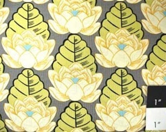 CLEARANCE Amy Butler AB21 Lotus Lotus Pond Ivory Cotton Fabric 1 Yard