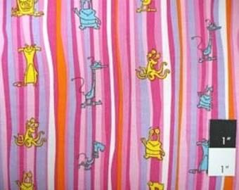 CLEARANCE Scott Jarrard SJ05 Boogie Monsters Stripes Pink Cotton Fabric 1 Yd
