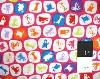 CLEARANCE Scott Jarrard SJ04 Boogie Monsters Silhouette Pink Cotton Fabric 1 Yd